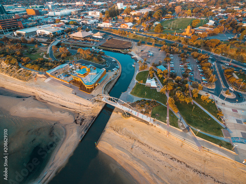 Tuinposter Luchtfoto Aerial view of Frankston waterfront at sunset. Melbourne, Australia.