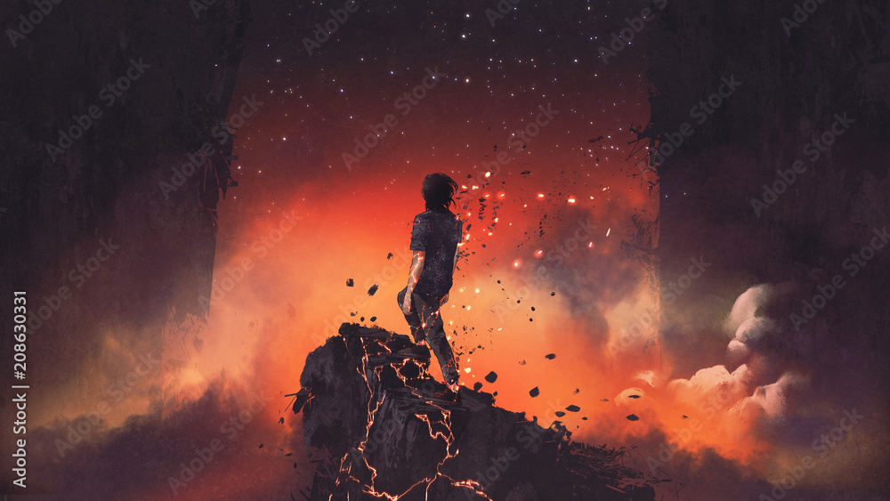 Fototapety, obrazy: man shattered into pieces standing a lava rock in surreal place, digital art style, illustration painting