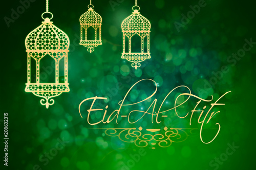 Eid-Al-Fitr background with golden lanterns on green