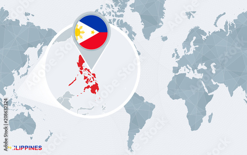 World map centered on America with magnified Philippines. – kaufen ...