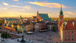 canvas print picture - Warsaw, Royal castle and old town at sunset