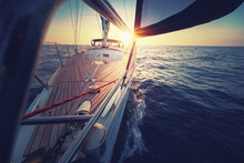 Sunset At The Sailboat Deck Wh...