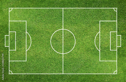 fototapeta na ścianę Football field or soccer field with green grass pattern and texture background.