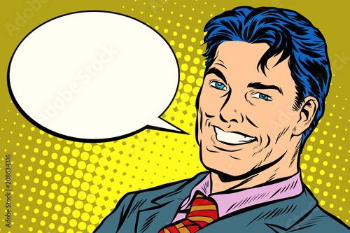 smiling businessman speech comics bubble