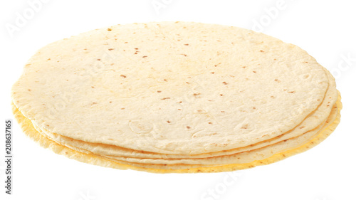 Fotomural  Yellow tortillas isolated on white background.