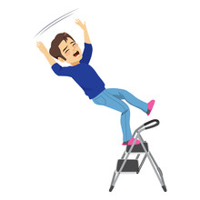 Young Man Falling From Ladder ...