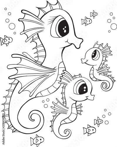 Spoed Foto op Canvas Cartoon draw Cute Seahorse Family Vector Illustration Art