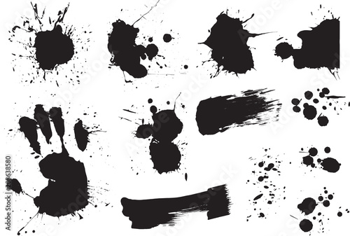 Fotobehang Cartoon draw Brush strokes and Paint Splatters Vector set