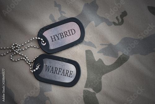 Stampa su Tela  army blank, dog tag with text Hybrid Warfare on the khaki texture background
