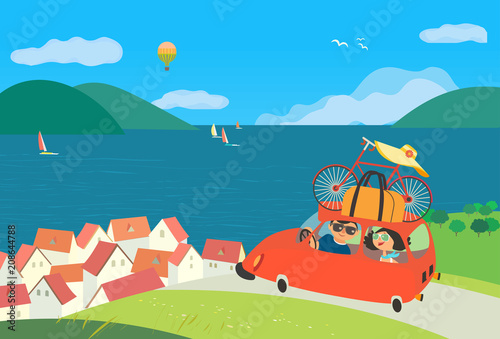Aluminium Prints River, lake Travelling by car icon. Young happy travellers couple take a trip to sea beach journey. Summer vacation touring for beach fun and sport activity. Cute cartoon. Colorful humor vector illustration