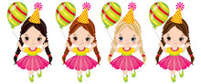 Vector Cute Little Girls With ...