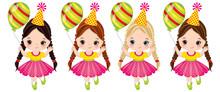 Vector Cute Little Girls With Balloons