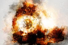 Vintage Pocket Watch In Cosmic Space. Graphic Collage.