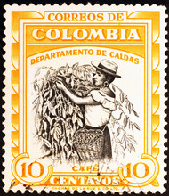 Coffee Picker On Colombian Postage Stamp