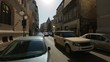 Narrow street Old Town Ancient Europe busy traffic Parking place problems in big cities