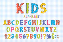 Childish Font And Alphabet In School Style. Pencil Scribbles Stylized In English Alphabet With Numbers