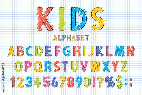 Childish font and alphabet in school style  Pencil scribbles