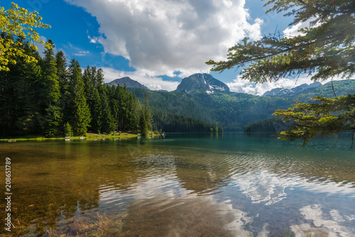 Tuinposter Blauwe hemel Natural landscape. Mountain lake, Black Lake, Durmitor National Park, Montenegro