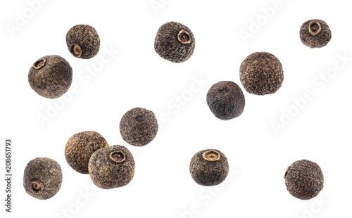 Obraz Black pepper. Allspice isolated on white background - fototapety do salonu