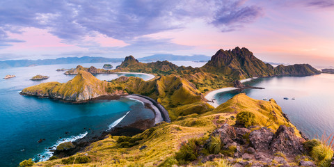 Top view of 'Padar Island' in a morning before sunrise, Komodo Island (Komodo National Park), Labuan Bajo, Flores, Indonesia