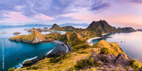 Poster Island Top view of 'Padar Island' in a morning before sunrise, Komodo Island (Komodo National Park), Labuan Bajo, Flores, Indonesia