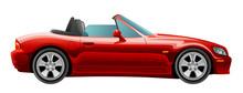Red Cabriolet On A White Backg...