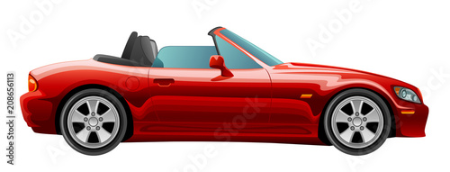 Staande foto Cartoon cars Red cabriolet on a white background