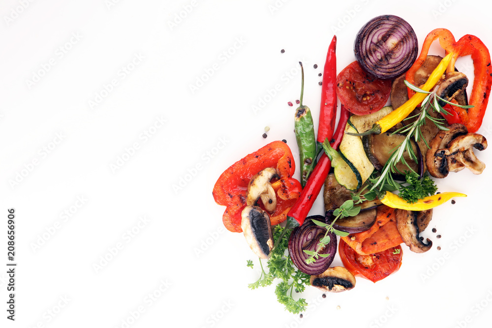 Fototapety, obrazy: Grilled vegetables. Tomatoes, zucchini, bell pepper and fresh herbs.