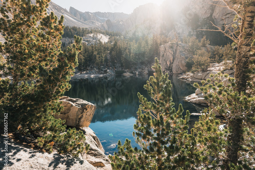 Spoed Foto op Canvas Grijze traf. Mt Whitney, USA: Mountain landscape with mirror lake surrounded by high peaks