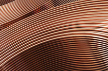 Bent Copper Pipes Close-up. 3D Illustration