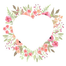 Flowers Heart. Beautiful Paper Art Pink Design Template. Romanti