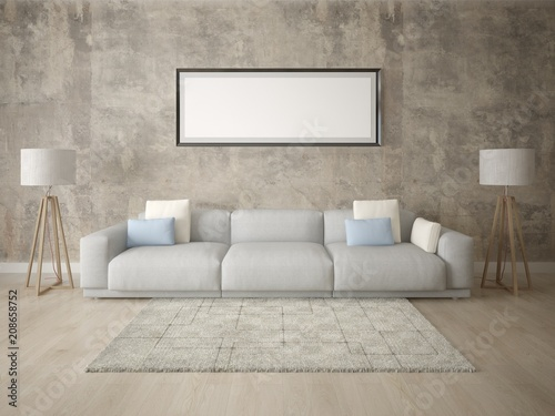 Mock Up A Modern Living Room With Large Comfortable Sofa And Stylish Hipster Background