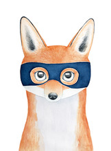 Young Charming Pretty Little Fox Character Portrait Wearing Dark Blue Superhero Mask. Hand Drawn Water Color Graphic Painting On White Background. Greeting Card, Print Design, Children Room Poster.