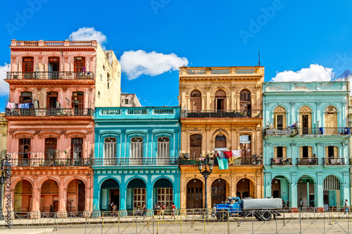 Poster de jardin Havana Old living colorful houses across the road in the center of Hava