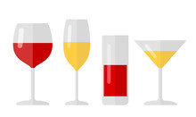 Vector Flat Glassware Illustration For Drinks: Glasses With Wine And Mors, Juice, Champagne, Martini