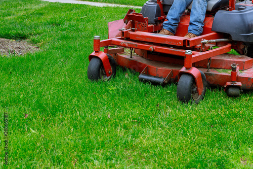 Tela Landscaping Professional Gardener with Large Large of mower cutting the grass