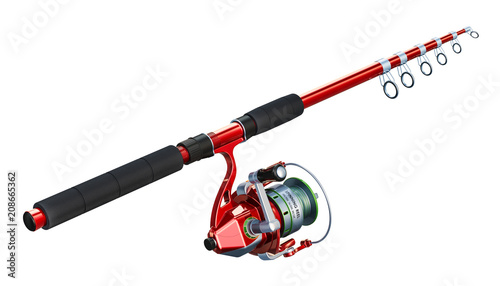 Printed kitchen splashbacks Fishing Fishing rod with spinning, 3D rendering