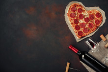 Heart Shaped Pizza With Mozzar...