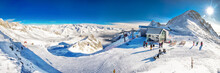 Stunning Winter Panorama In Tonale Ski Resort. View Of Italian Alps From Adamelo Glacier, Italia, Europe