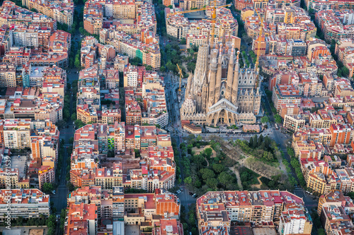 Barcelona aerial view, Eixample residencial district and famous Sagrada Familia Wallpaper Mural