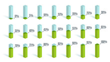 Set Of Green Percentage Charts...