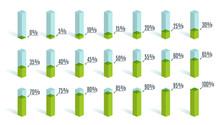 Set Of Green Percentage Charts For Infographics, 0 5 10 15 20 25 30 35 40 45 50 55 60 65 70 75 80 85 90 95 100 Percent. Vector Illustration.