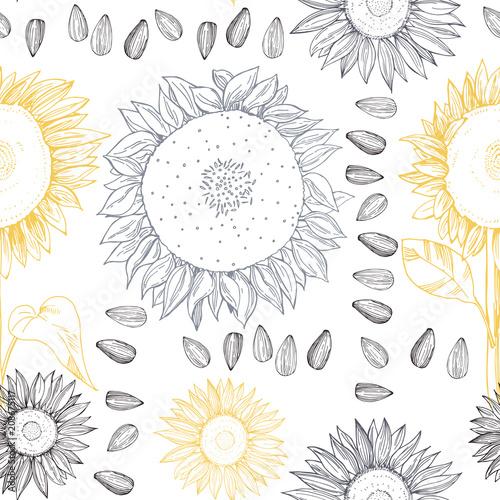 recznie-rysowane-kwiaty-slonecznika-i-nasiona-wektorowy-bezszwowy-wzor