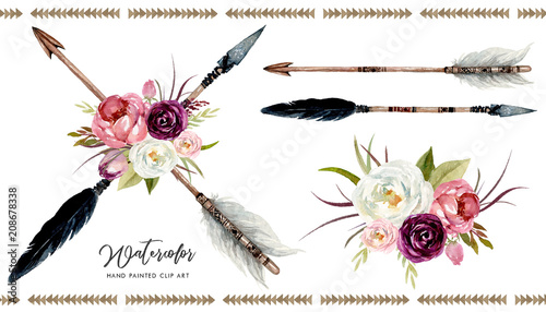 Photo  Watercolor boho floral illustration set - arrows with vivid colorful flower bouquets for wedding, anniversary, birthday, invitations, tribal native american symbol, bohemian, indian, DIY