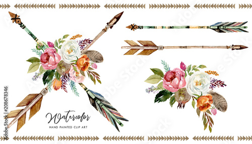 фотография  Watercolor boho floral illustration set - arrows with vivid colorful flower bouquets for wedding, anniversary, birthday, invitations, tribal native american symbol, bohemian, indian, DIY