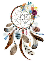 Isolated Watercolor Decoration Bohemian Dreamcatcher, Floral Boho Feathers Decoration, Native Flower Chic Design, Mystery Ethnic Tribal Print, American Culture Design, Gypsy Ornament, Dream Catcher.