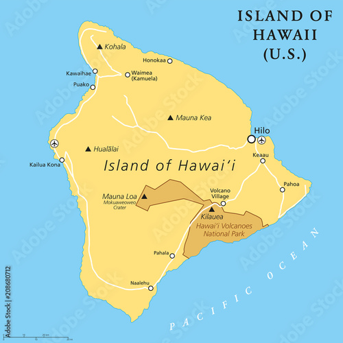 Island Of Hawaii Political Map Largest Island Located In The U S - Pacific-ocean-on-us-map
