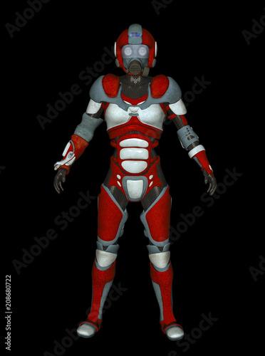 Fotografia  3D Illustration of Futuristic Red Female Cyborg on Black Chroma Key Background f