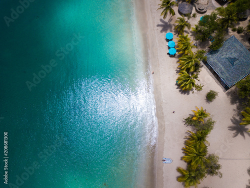 Fototapeta Aerial view of Mayreau beach in St-Vincent and the Grenadines - Tobago Cays. The paradise beach with palm trees and white sand beach obraz na płótnie