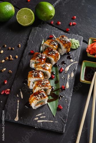 sushi on black background Canvas